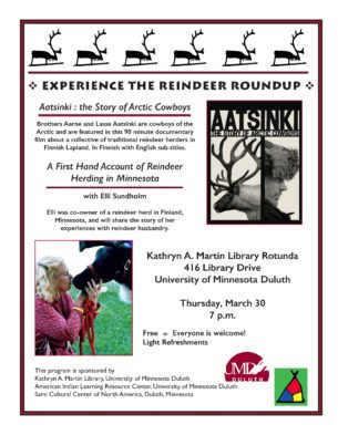 Reindeer Roundup @ University of Minnesota Duluth Library Rotunda | Duluth | Minnesota | United States